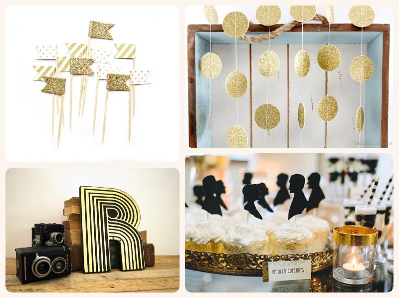 Art Deco Hochzeit Gold Glitzer