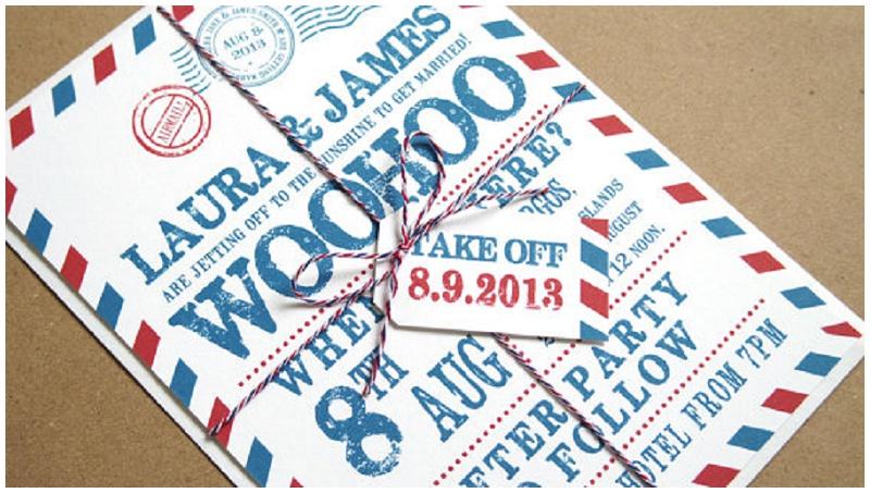 Einladungskarte Hochzeit Luftpost STNStationery Etsy