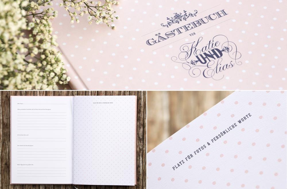Gästebuch Hochzeit Punkte rosa