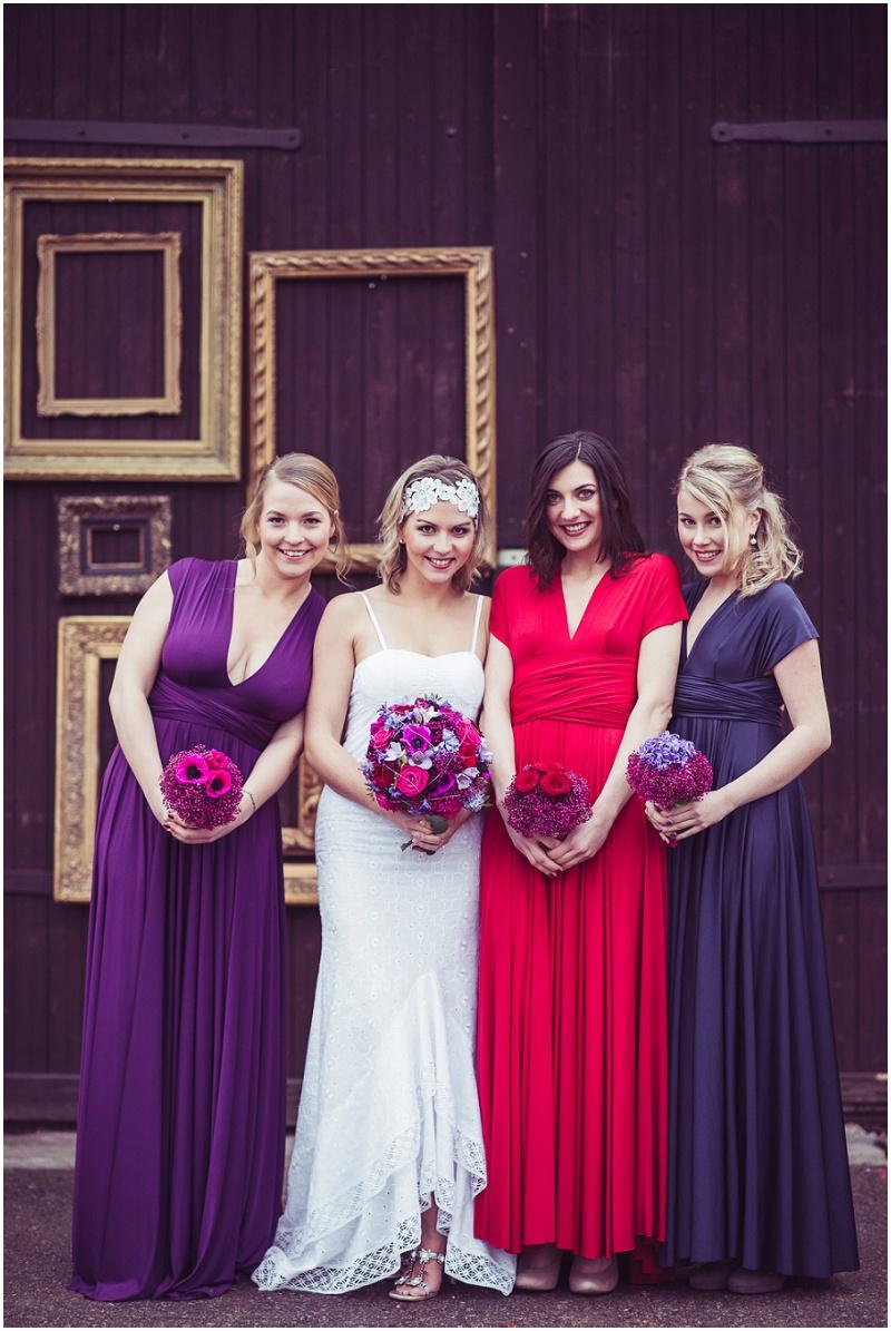 Trauzeuginnen Kleid rot lila blau