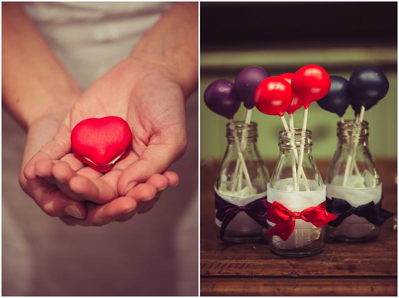 Hochzeit Macarons Herz rot
