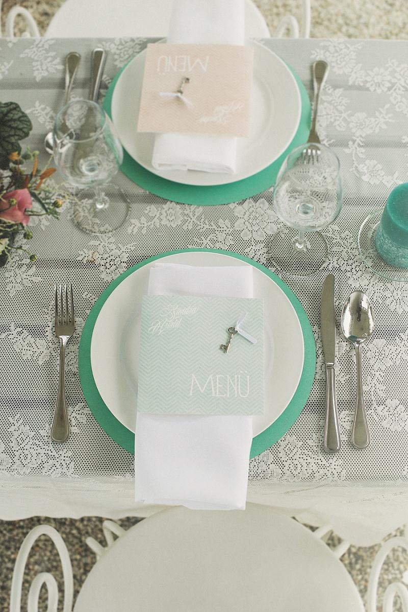Tischdeko mint pastell