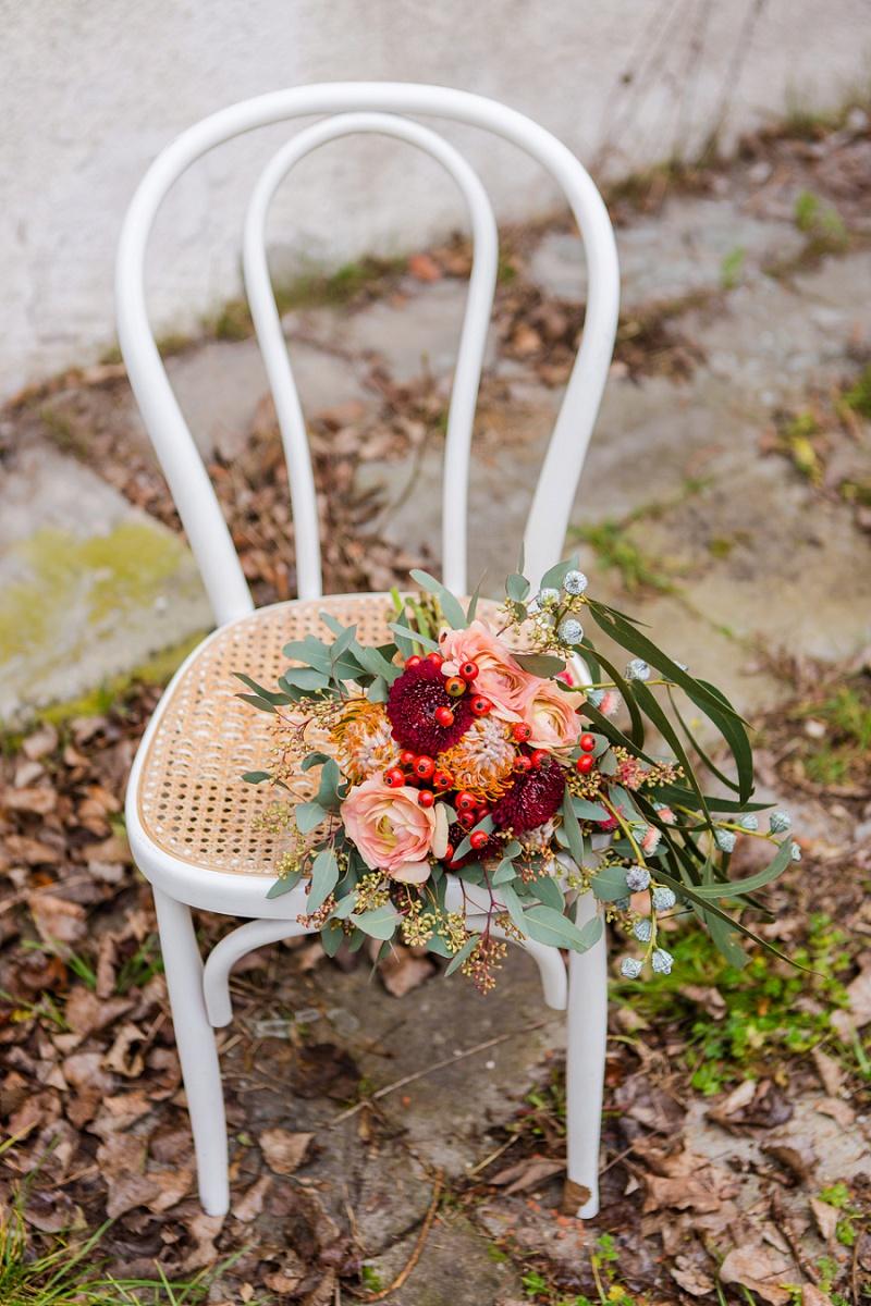 Brautstrauß apricot rot