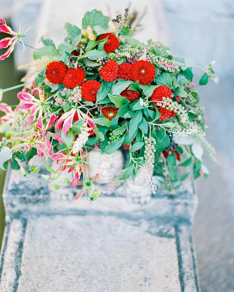 Brautstrauß Dahlien rot