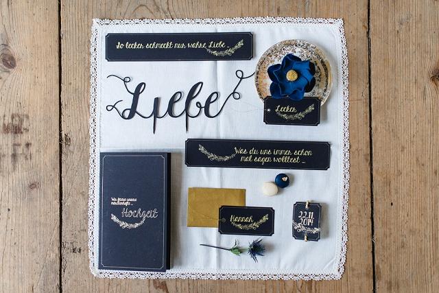 Hochzeitspapeterie schwarz gold