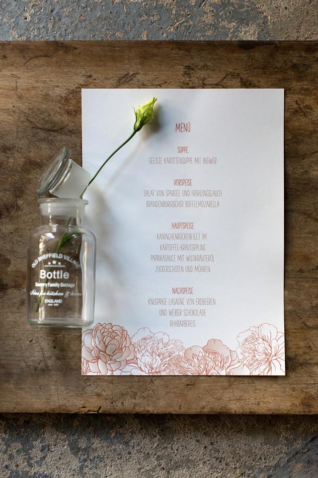 Menükarte Rosen Kupfer