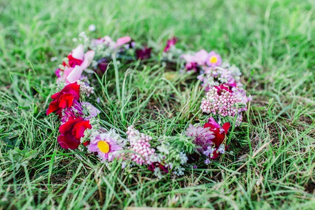 Blumenkranz rot Haar Haarschmuck Boho Hochzeit