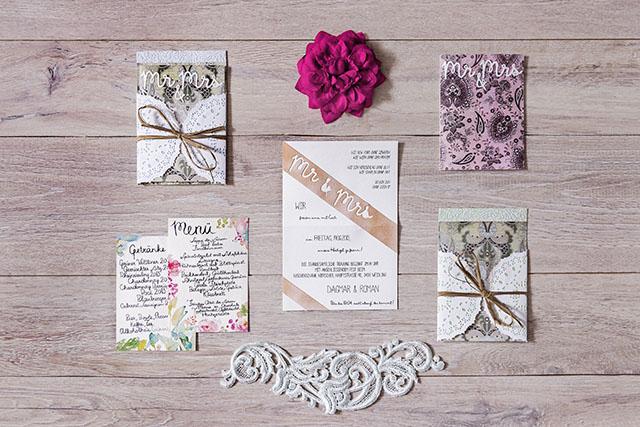 Hochzeitseinladungen rosa Vintage Kalligraphie