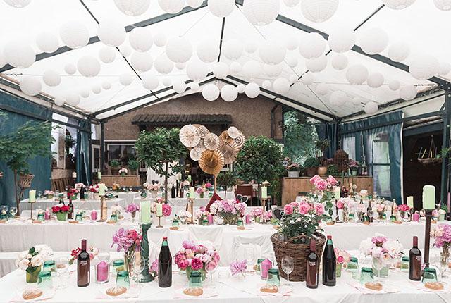 Hochzeitsdekoration rosa mint