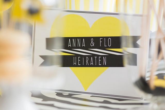Hochzeitseinladung gelb schwarz
