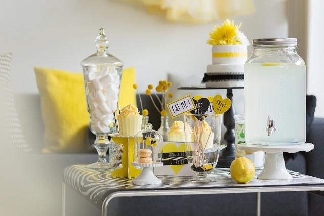 Hochzeitsdekoration gelb schwarz