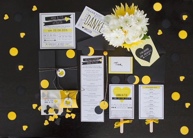 Hochzeitspapeterie gelb schwarz