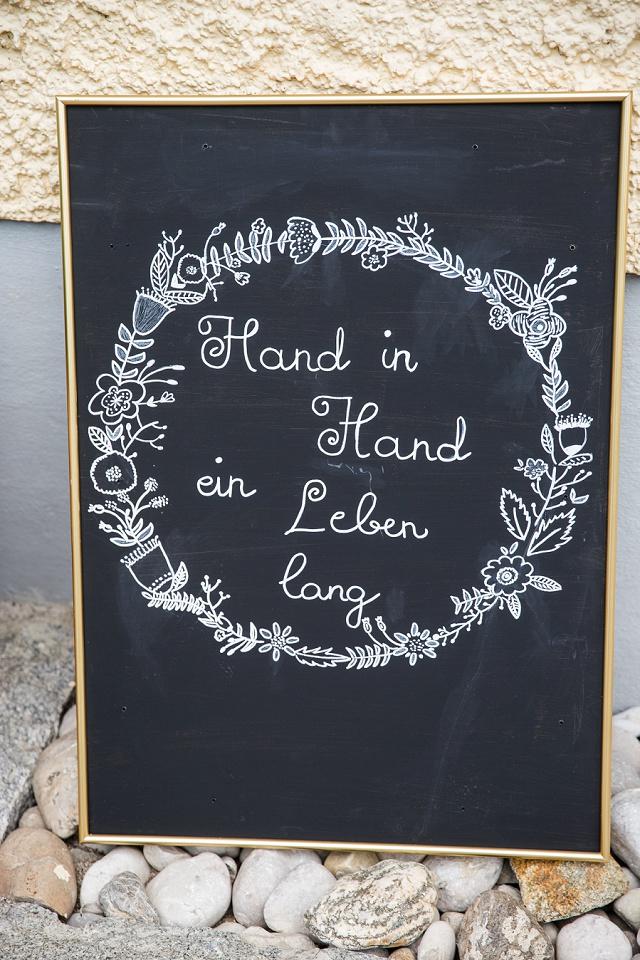 Schild Hand in hand ein Leben lang