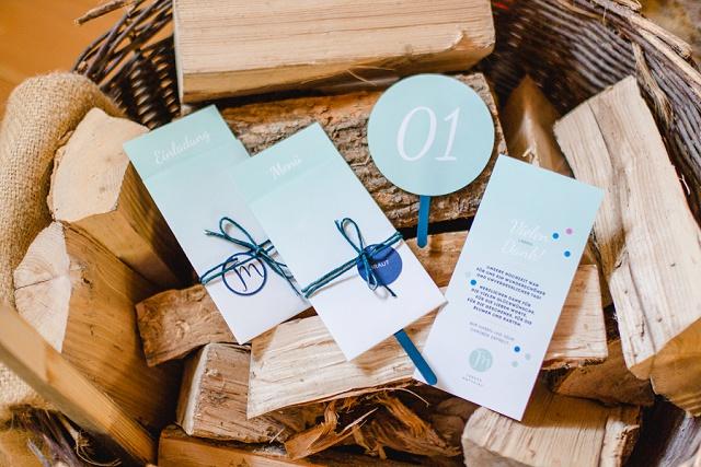 Hochzeit Einladungskarten blau modern