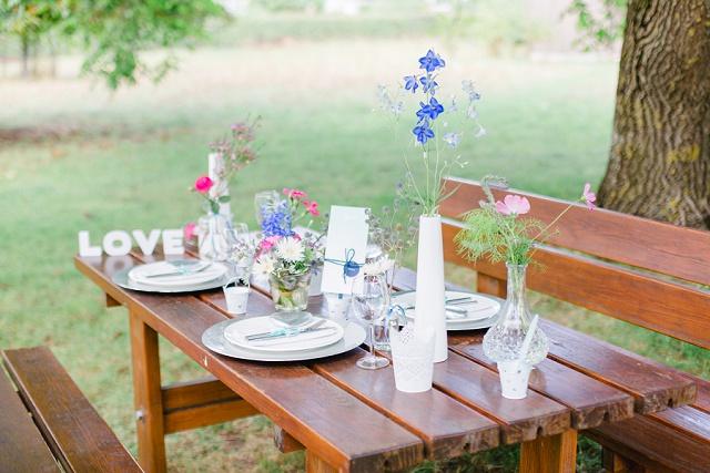 Tischdeko Gartenhochzeit
