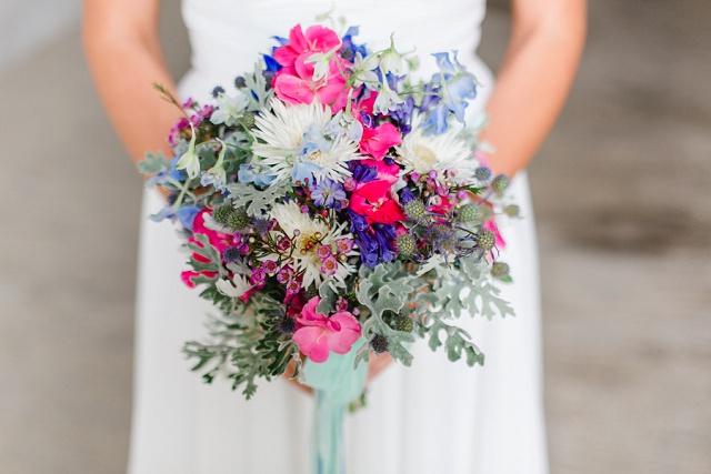 Brautstrauß blau rosa
