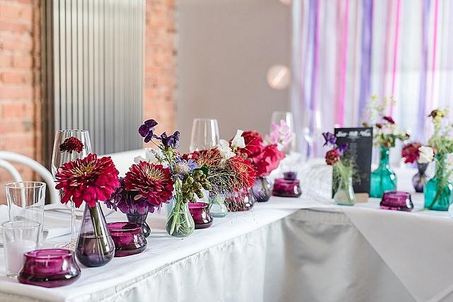 Hochzeit Tischdekoration Sommer bunt