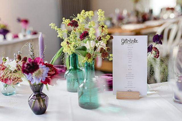 Hochzeit Tischdekoration bunt
