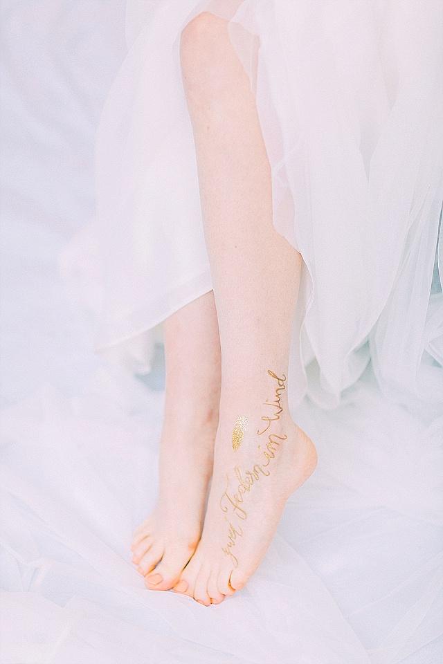 Braut Tattoo Kalligraphie abwaschbar