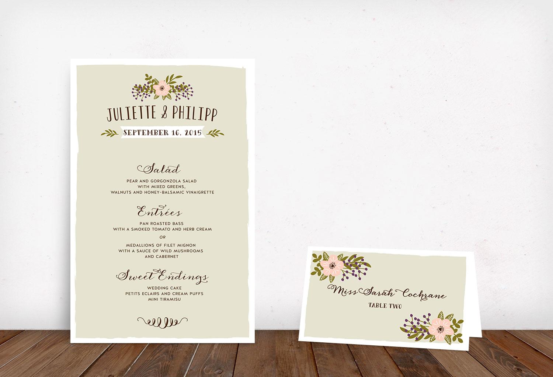 Menükarte rosa Bonjour Paper Hochzeit