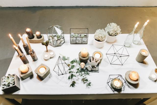 Hochzeit Tischdeko geometrisch