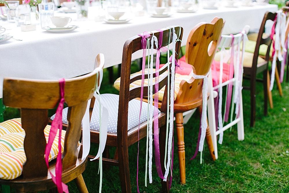 Hochzeit Stuhldekoration Gartenhochzeit