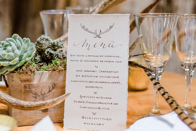 Menükarte Hochzeit Handkalligrafie