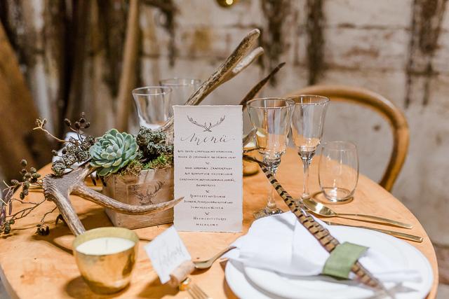 Forsthaus Tischdekoration Hochzeit