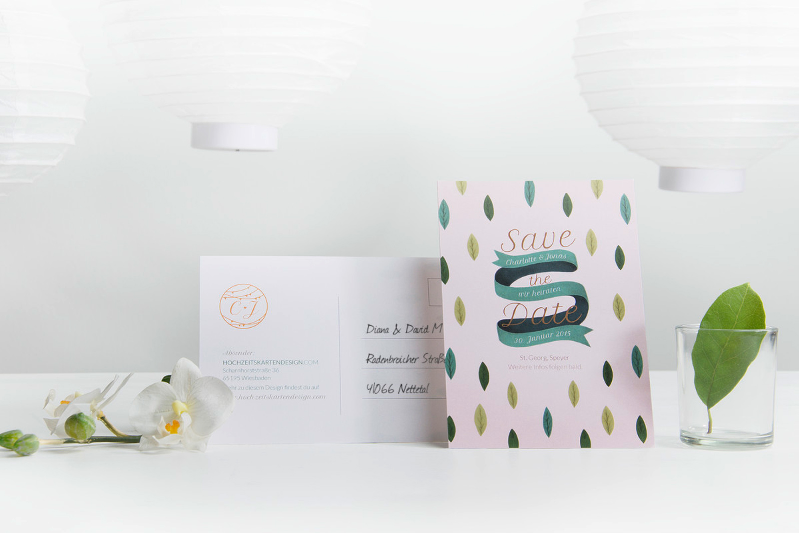 1-Hochzeitskarte-Einladung-Hochzeitseinladung-Hochzeitskartendesign-Birds-of-Paradise-Blätter-Blume-2