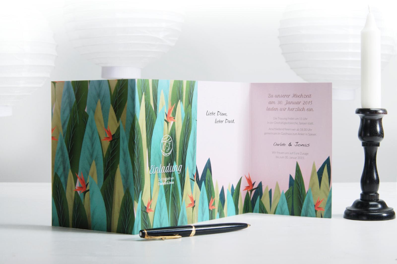 1-Hochzeitskarte-Einladung-Hochzeitseinladung-Hochzeitskartendesign-Birds-of-Paradise-Blätter-Blume-3