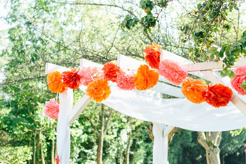 Hochzeitsdeko rot orange pink