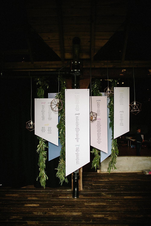 Sitzplan Hochzeit geometrisch