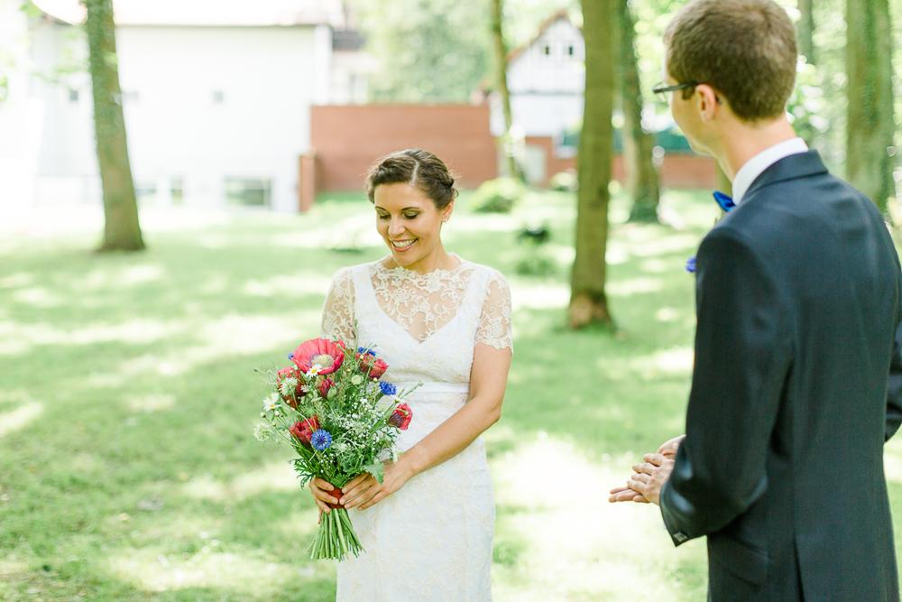 Brautstrauß rot blau