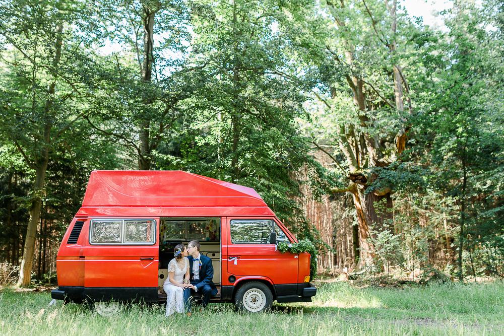 Hochzeit VW Bulli rot