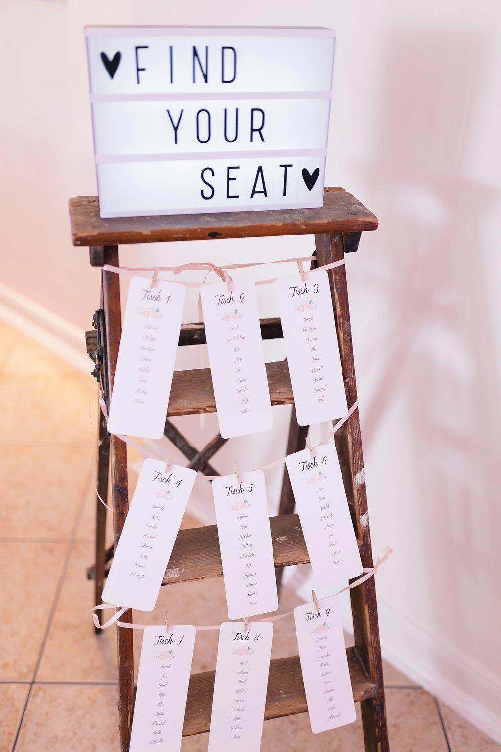 Sitzplan Hochzeit modern