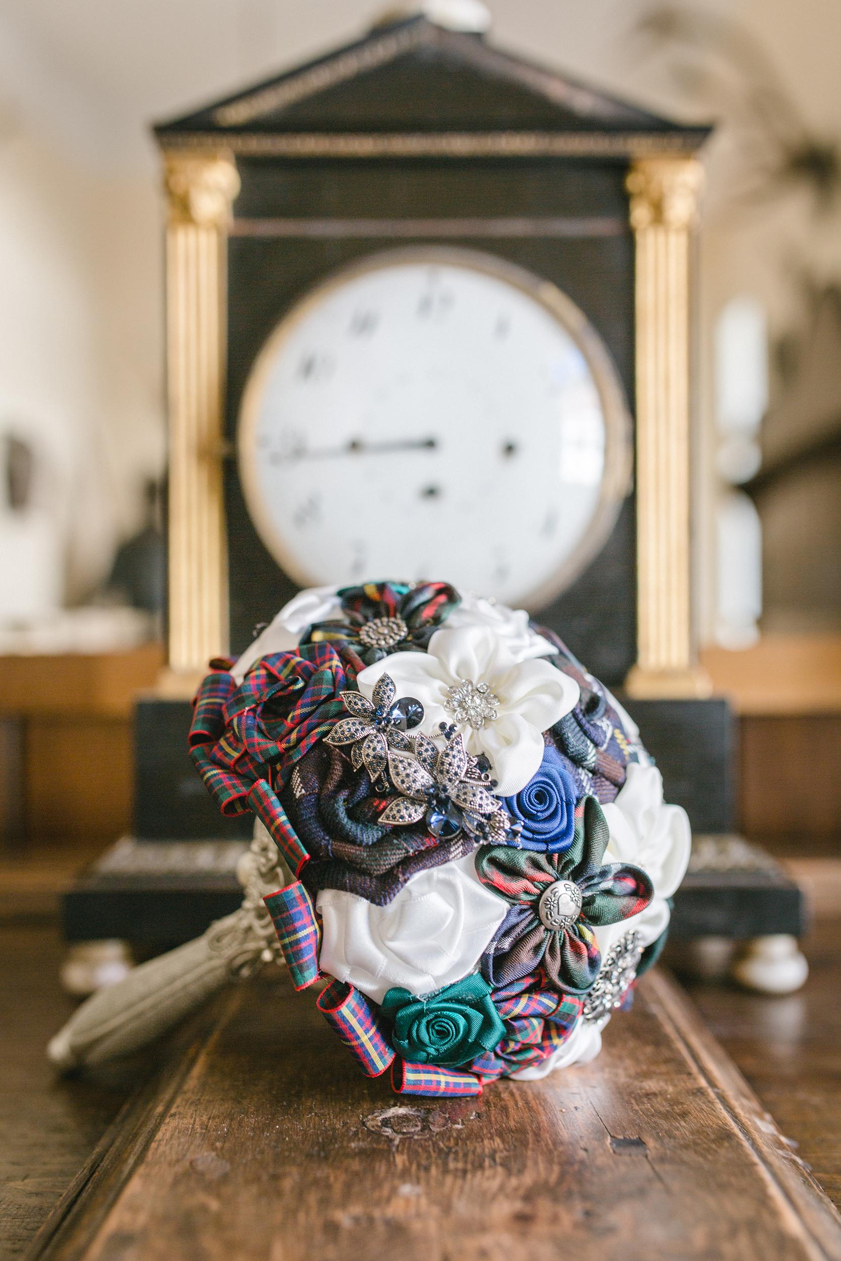 Brautstrauß Tartan Stoffblume