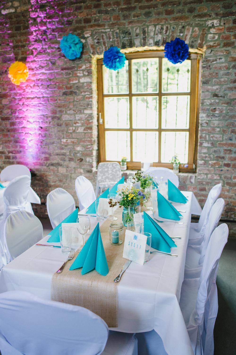 Tischdekoration blau Hochzeit