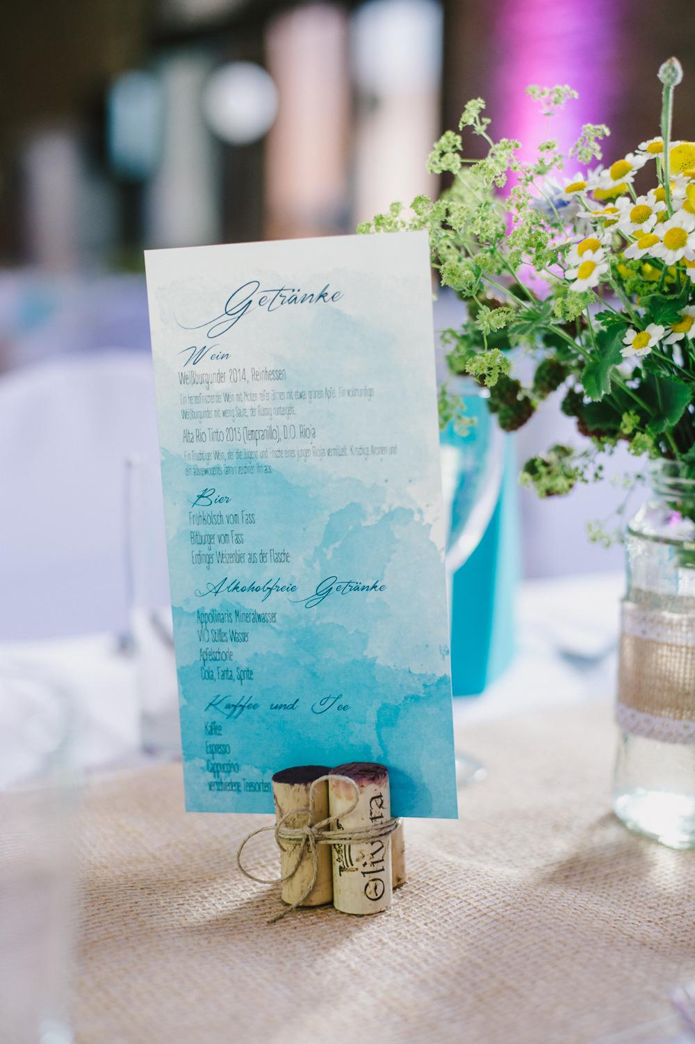 Getränkekarte türkis Hochzeit
