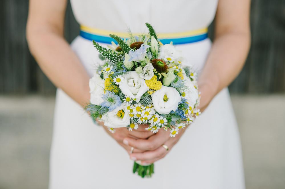 Brautstrauß gelb blau