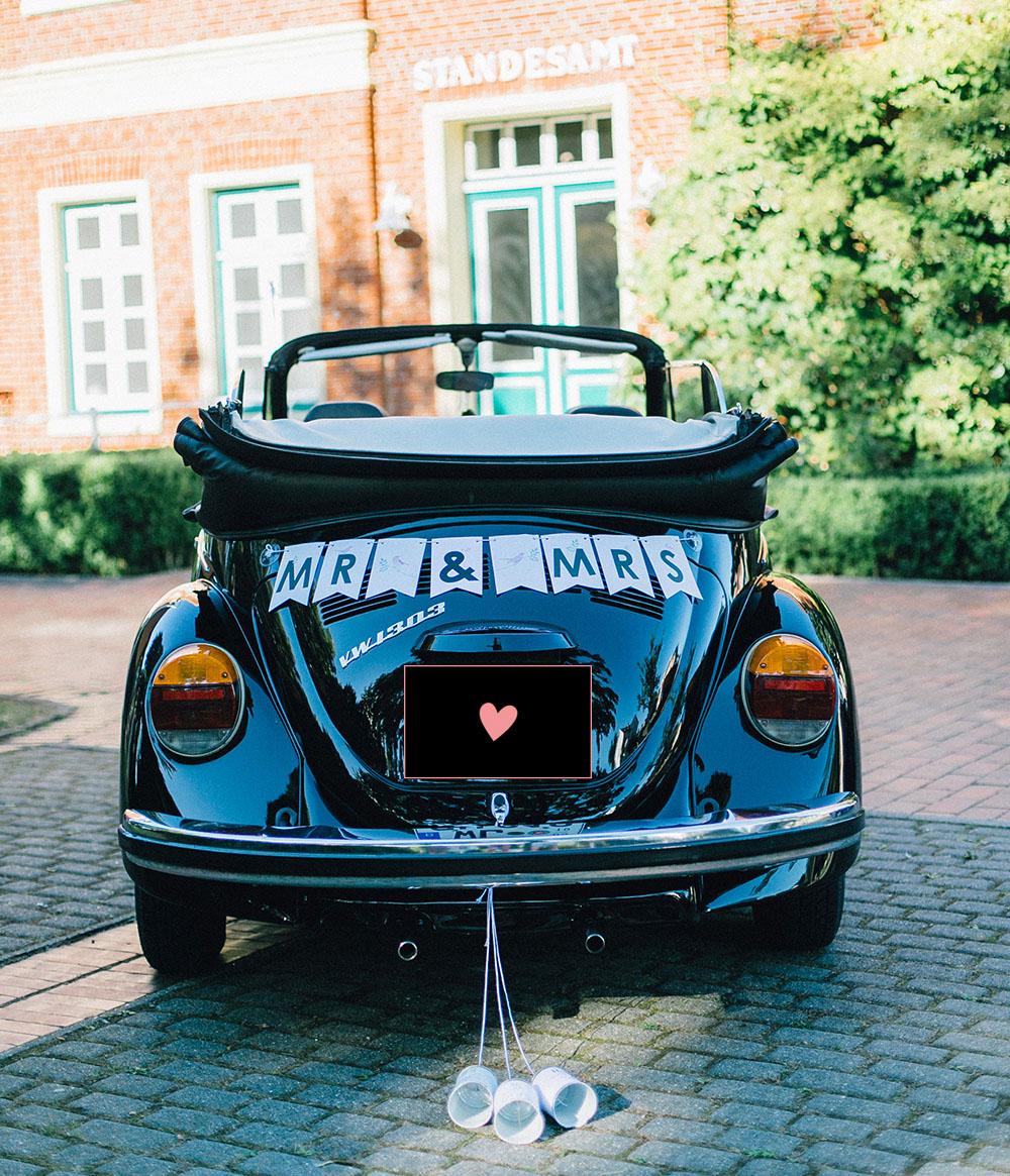 Hochzeitsauto Dosen, Hochzeitsauto schmücken und Hochzeitsauto deko befestigen