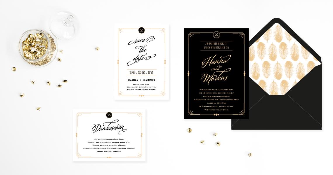Vintage Hochzeitskarten Great Gatsby