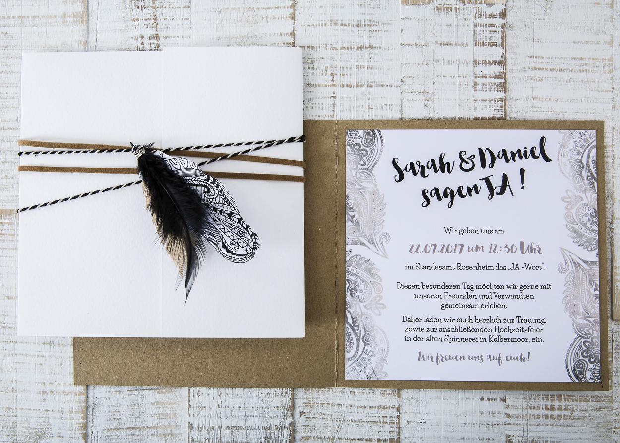 Einladungskarte Boho Hochzeit