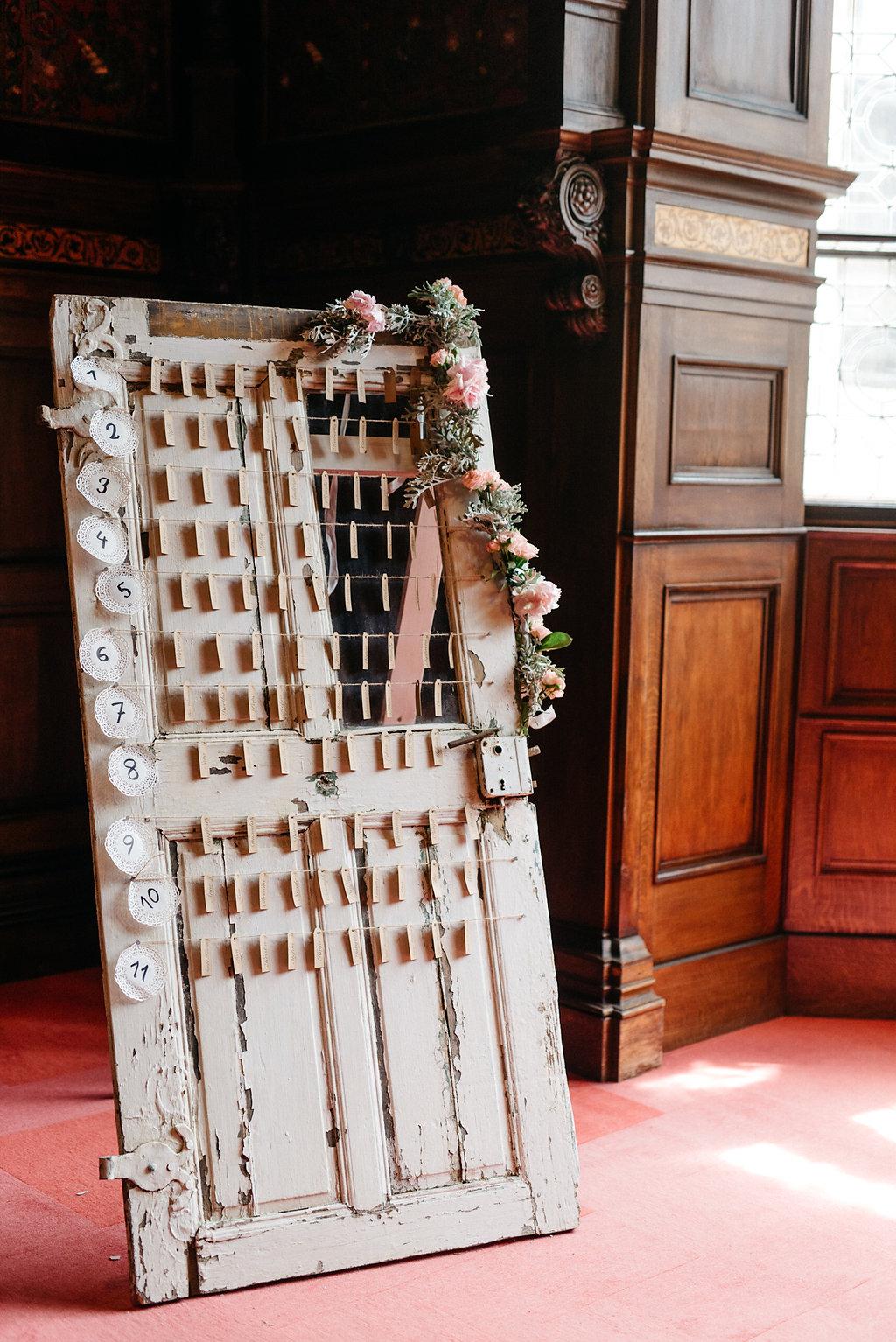 Sitzplan Hochzeit Vintage Tür