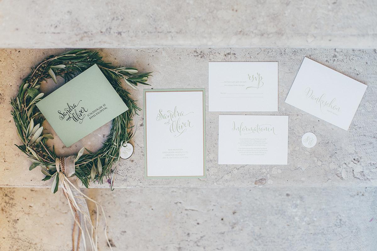 Hochzeitskarten weiß grün
