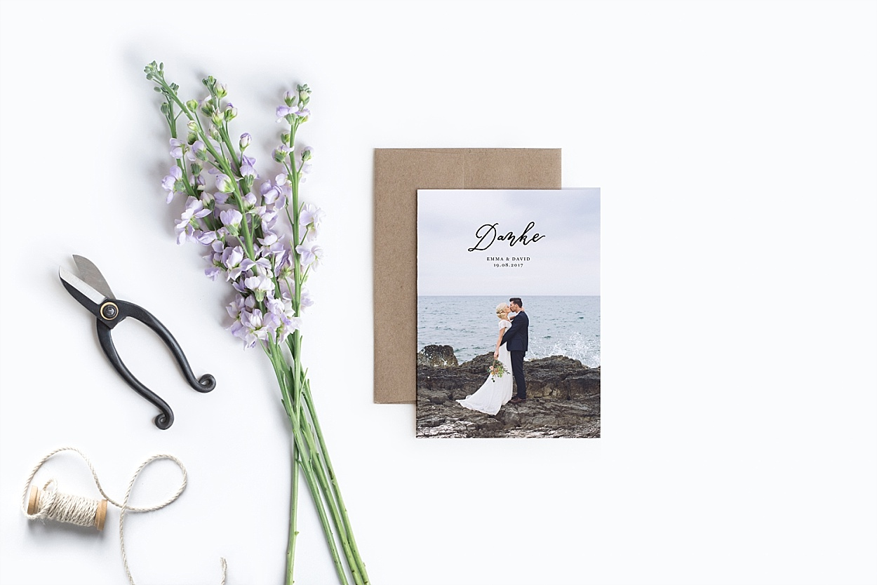 Dankeskarte Hochzeit Kalligrafie Papeterie
