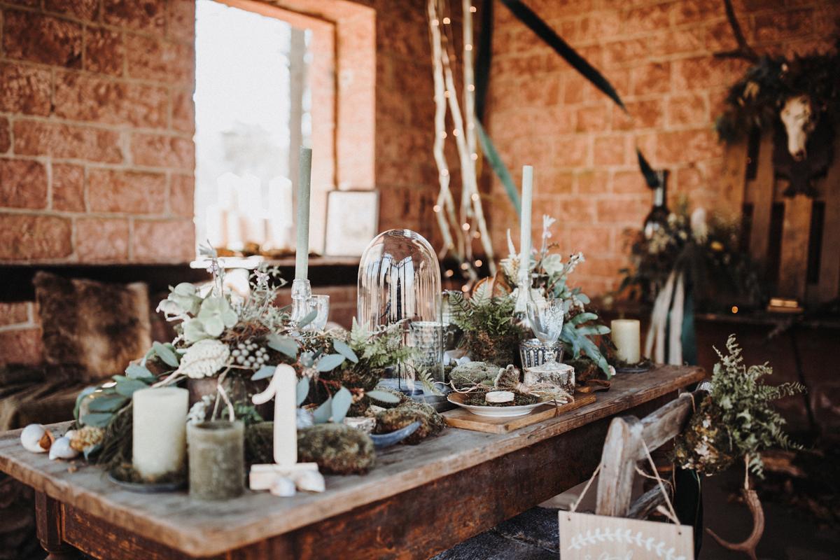 Tischdekoration Boho grün braun
