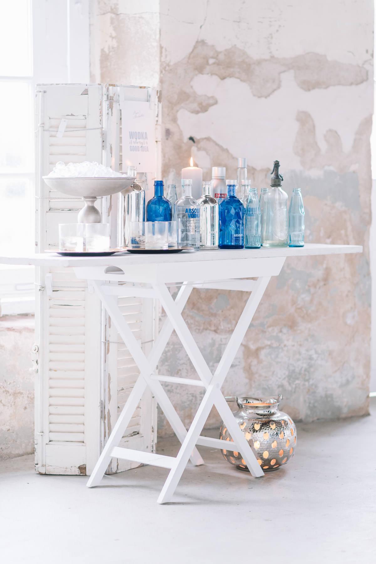 Getränkebar Hochzeit blau