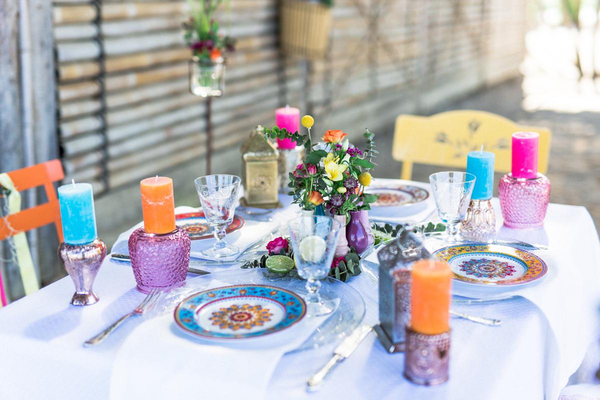 Tischdekoration Hochzeit bunt, Tischedkoration Hochzeit exotisch karibisch tropisch