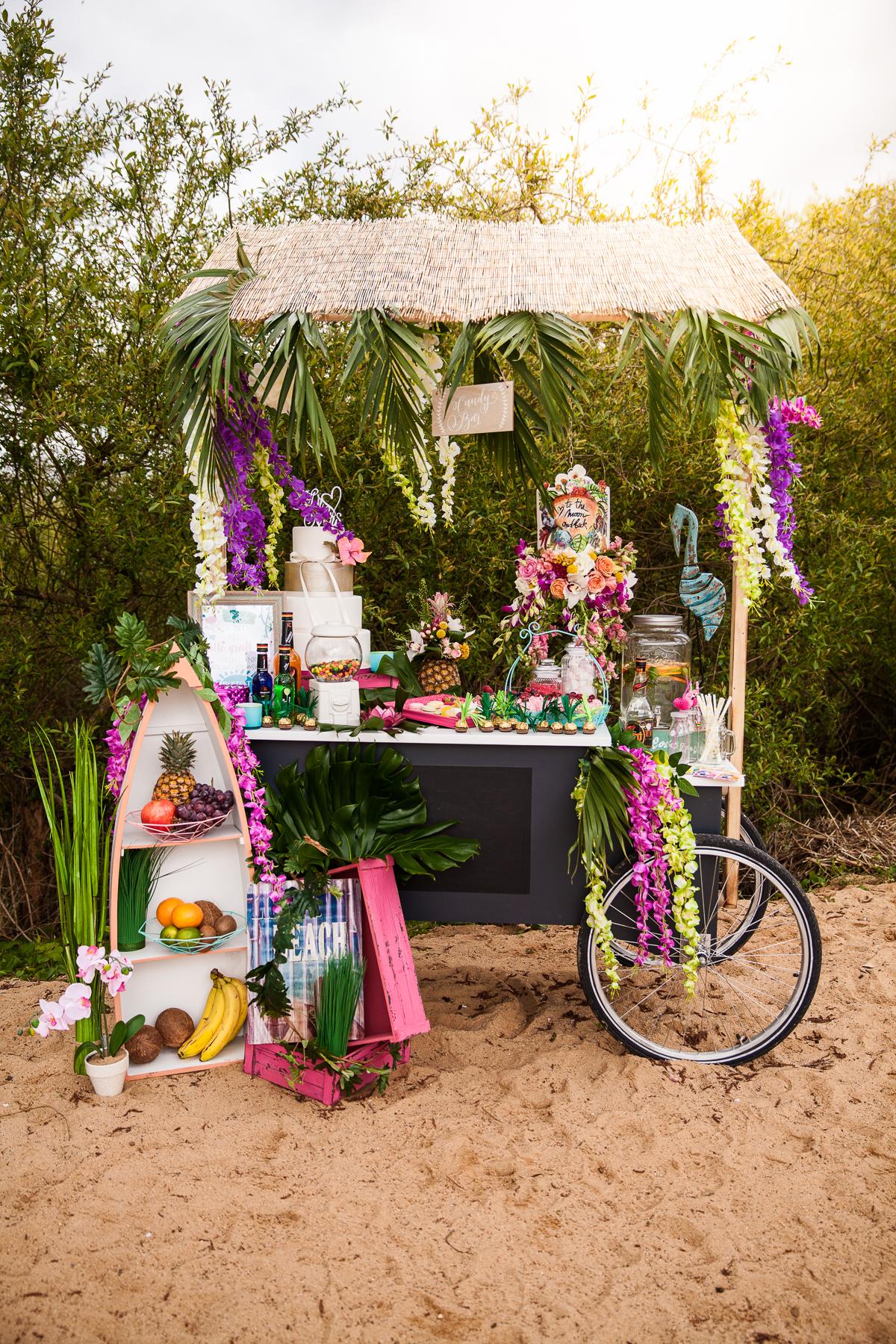 Strandbar Hochzeit, Getränkebar tropische Hochzeit