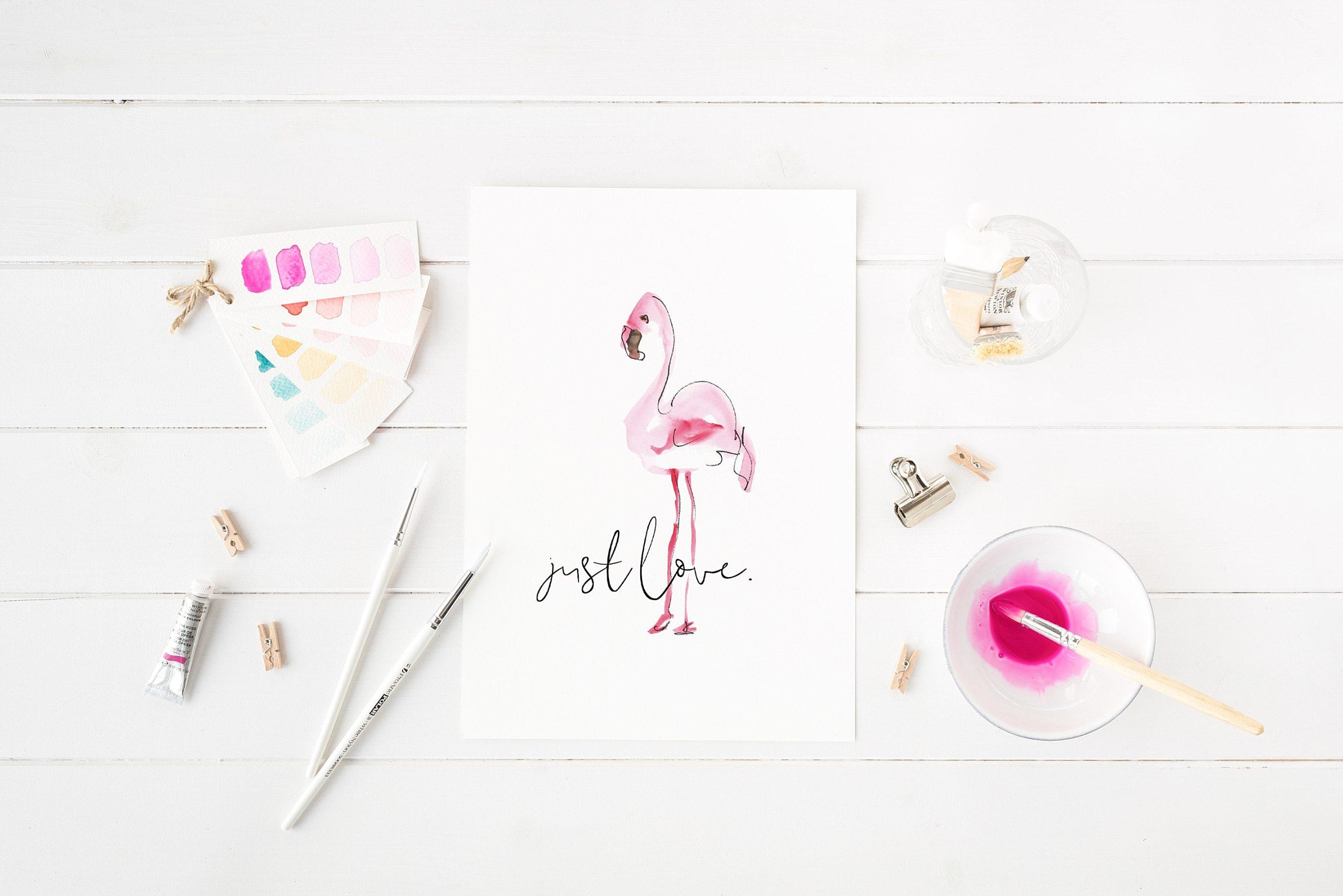 Print Just Love mit Flamingo